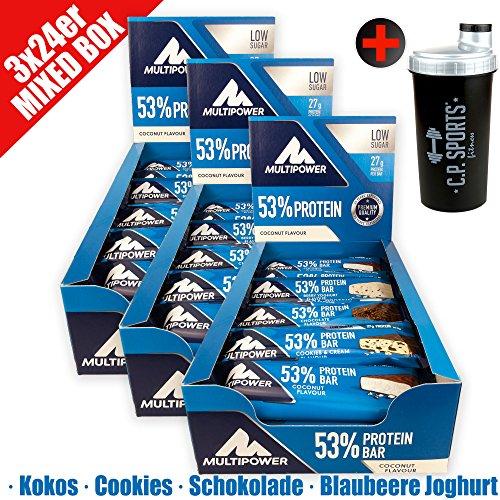 Multi Power 53% proteína Bar 3x 24Mix de caja–72proteína cerrojo Mix Box (3,6kg)–27gramos proteína Pro Energía cerrojo–con eiweißriegeln en 4direcciones sabor 18cerrojo por sabor + Gratis Coctelera de C.P. Sports