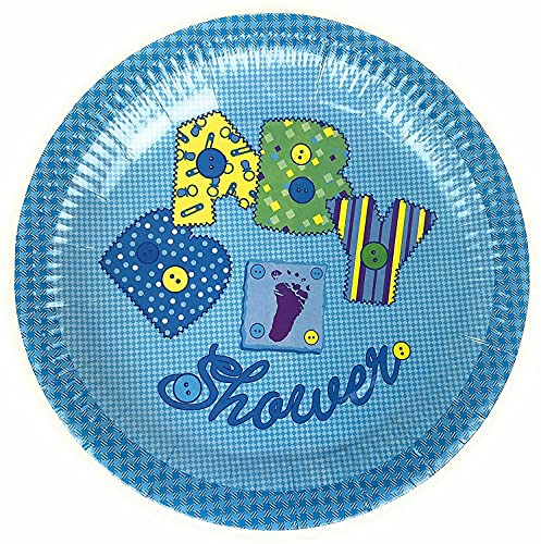 AEX Baby Shower-Paper Plates- 23cm - Pack of 10-9inch Strong- Paper Plates-Party Plates (Blue)