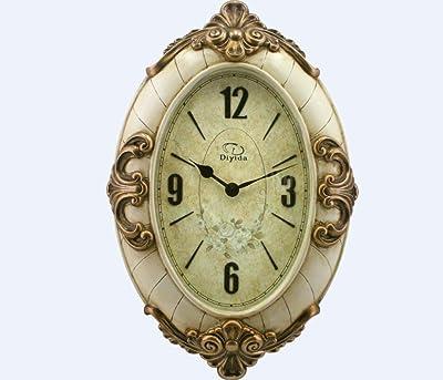 XIE Continental pastoral living room quiet creative antique resin clock quartz wall charts , antique white