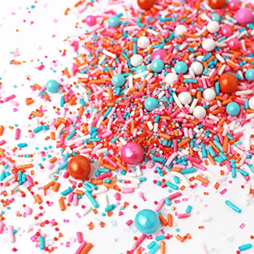 Sorbeto Pastel Gluten Friendly Pink Orange Blue Spring Summer Colorful Candy Sprinkles Mix For Baking Edible Cake Decorations Cupcake Toppers Cookie Decorating Ice Cream Toppings, 4OZ