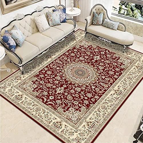 Alfombra vintage bohemia para sala de estar, rectangular, estilo persa, alfombra de área rectangular, suave, antideslizante, 60 x 90 cm