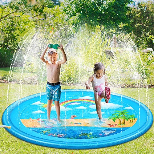 Sooair Juego de Salpicaduras y Salpicaduras, 170 cm Water Spray de Agua Espolvoree y coloque la Alfombra de Juego, Aspersor de Juego para Actividades Familiares Aire Libre/Jardín/Playa