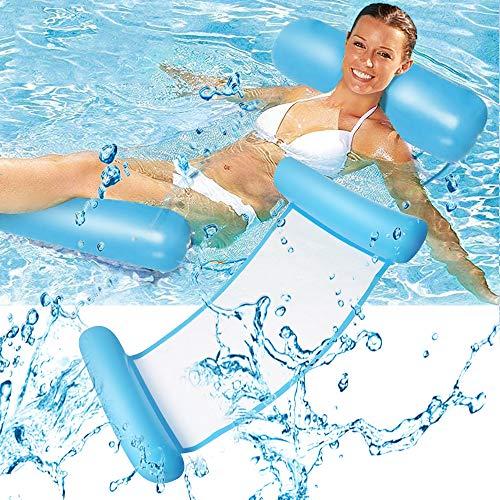 WOSNN Cama flotante de agua Hamaca para salón, hamaca de agua, hinchable, tumbona para mar o piscina (Light Blue-1)