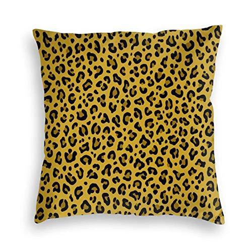 fudin Fundas de cojín de terciopelo con estampado de leopardo en color amarillo mostaza, con cremallera invisible, 48 x 48 cm