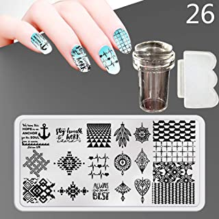 Zmond - New 12X6cm 44 Style Nail Stamping Plates Set Made Stencils Lace Flower DIY Nail Art Templates+Transparent Stamper Stamp Scraper [ 26 ]