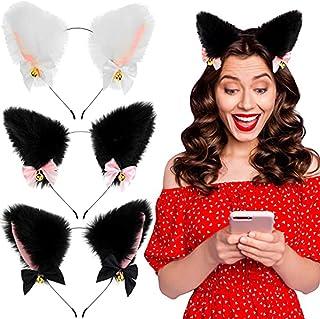شريط الراس بشكلاذن قطة من الفرو، شريط الراس بجرس القطة للنساء والفتيات للازياءالتنكرية ومجموعة اكسسوارات الشعر، مشبك الشعر