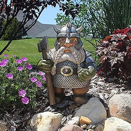 TY&WJ Guerrero Vikingo Garden GNOME Estatua,Dios Nórdico Odín Figurine Mitología Vikinga Escultura Enana,Divertido Guerrero Gnomo Estatuas Al Aire Libre para Césped Decoración De Patio (Co
