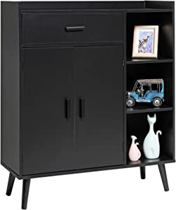 USIKEY Storage Cabinet with 1 Drawer and 2 Doors, Mid Century Floor Storage Cabinet with 3 Shelves, Wooden Sideboard, Cupboard for Living Room, Bedroom, Home Office, Black