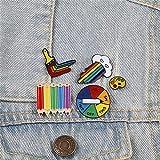 ZSCZQ Insignias de arcoíris Arco Iris Nube Artista Alfileres de Esmalte Lápiz Corazón Juego Tocadiscos Broches Bolsa Ropa Solapa Pin de Metal Diseño Gay Tocadiscos