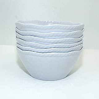 Melamine Salad Bowls - 6pcs Dinner Bowls Set for Cereal, Fruit, Dessert, 28oz, White (6)