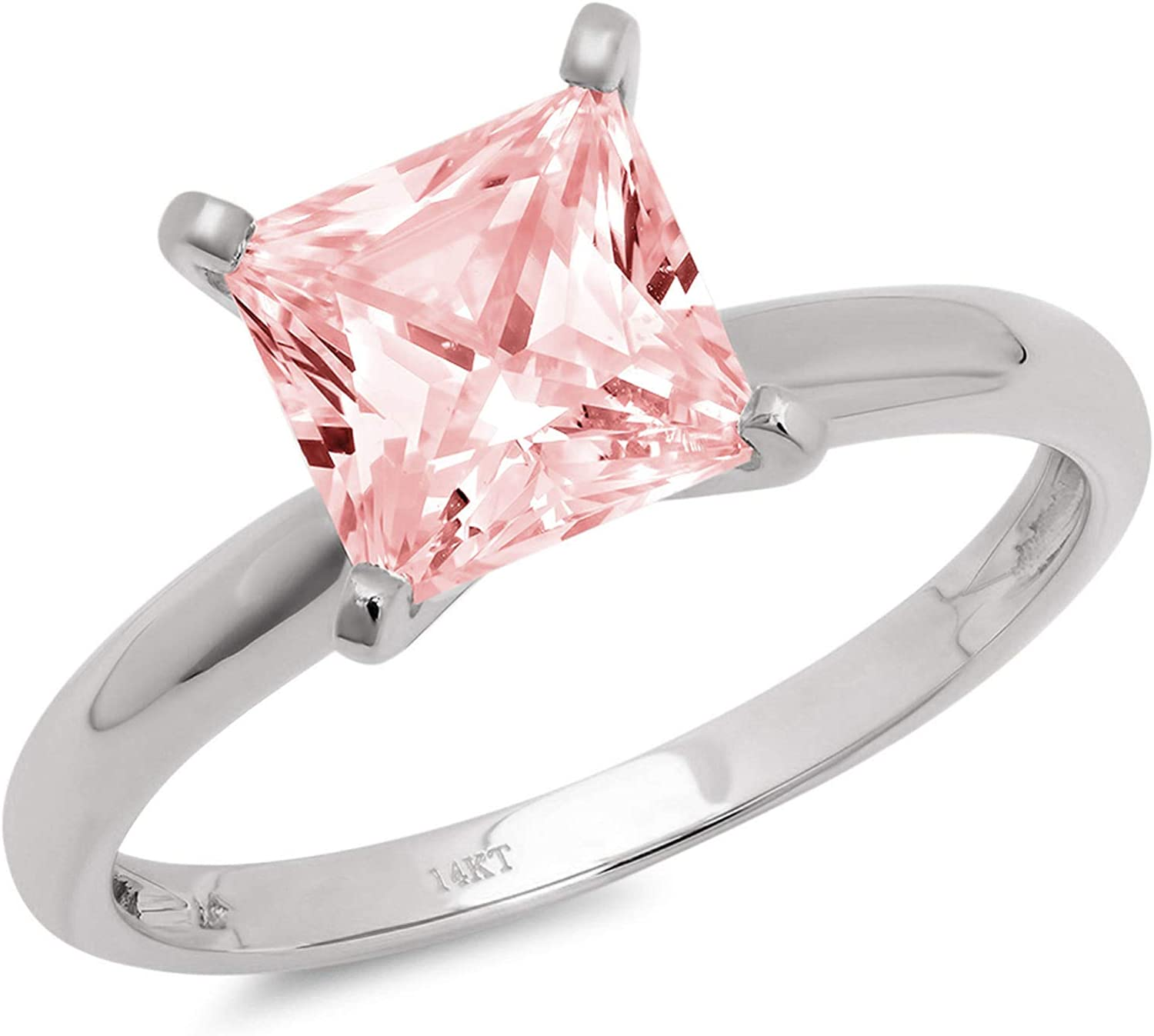 1.4ct Brilliant Princess Cut Solitaire Pink Simulated Diamond Cubic Zirconia Ideal VVS1 D 4-Prong Engagement Wedding Bridal Promise Anniversary Ring Solid 14k White Gold for Women