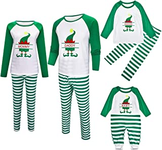 Wenjuan 2 Pcs Christmas Children Pajamas,Cartoon Deer Print Top Striped Pants Family Winter Long Sleeve Sleepwear Clothes Set