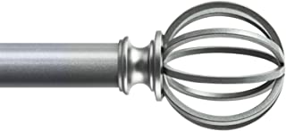KAMANINA 1 Inch Curtain rods Single Window Rod 72 to 144 Inches, Silver, Drapery Rod, Lantern Finials