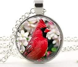 Cardinal Bird with Flowers Pendant, Glass Pendant Necklace, Cardinal Jewelry Cardinal Pendant