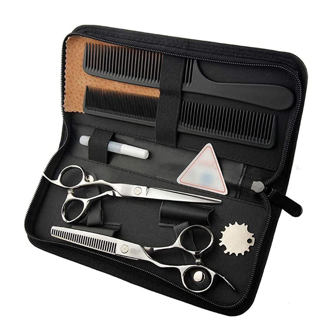 オーブンふくろうに対応6インチ美容院プロフェッショナル理髪セットフラットはさみ+歯せん断セット、美容院左手はさみセット モデリングツール (色 : Silver)