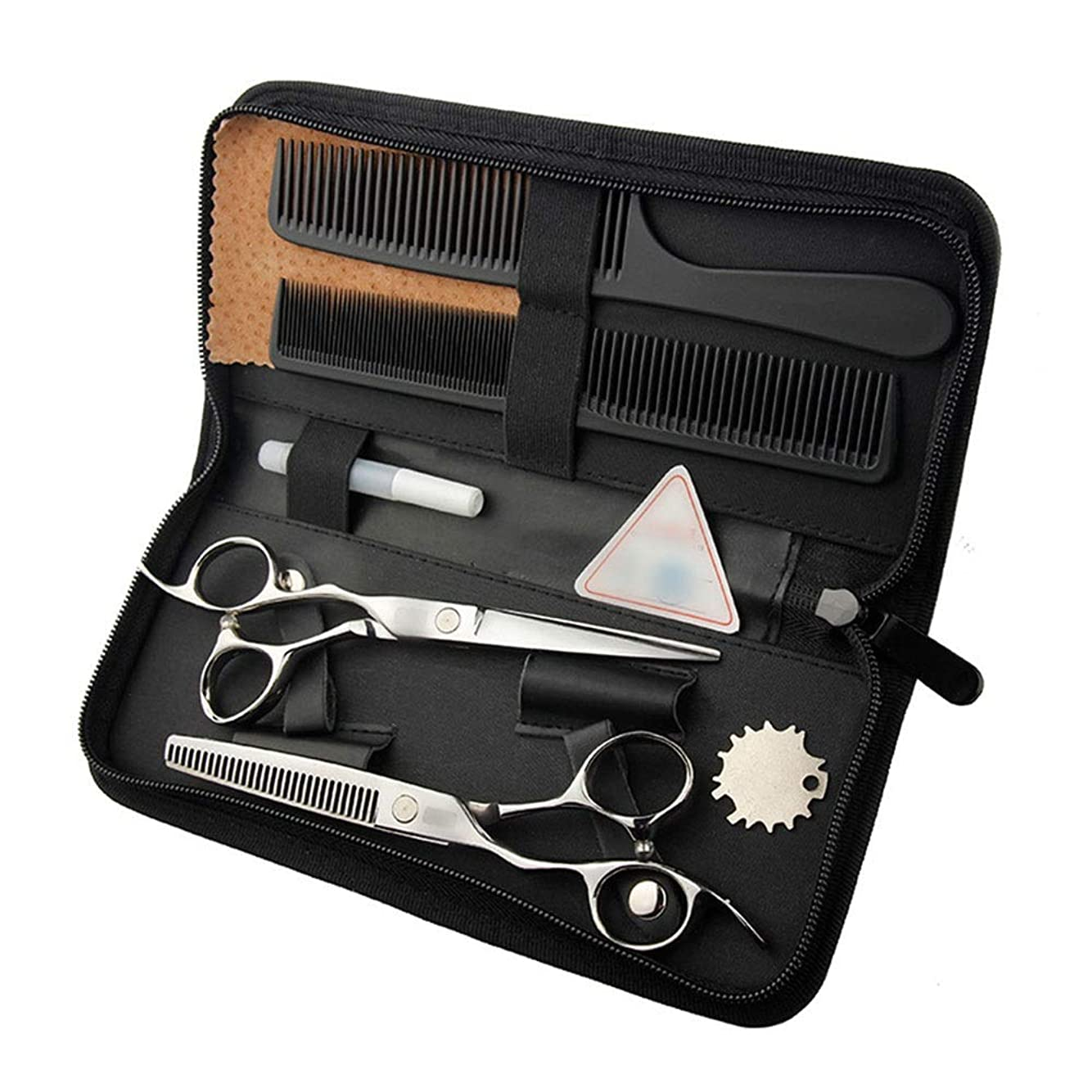 志す減少謙虚6インチ美容院プロのヘアカットフラットシザー+歯シザー モデリングツール (色 : Silver)