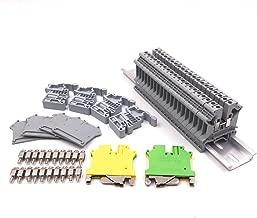Erayco DIN Rail Terminal Blocks Kit, 20Pcs UK5N 10 AWG Terminal Blocks, 2Pcs Ground Blocks, 2Pcs Terminal Fixed Bridge Jumpers, 4Pcs E/UK End Brackets, 2Pcs D-UK3/10 End Covers, 1Pcs 8