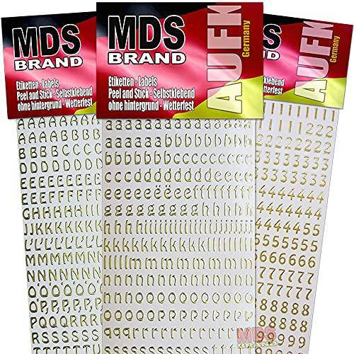 MDS Brand Buchstaben (1cm) zum beschriften von Kerzen 3er/pk für Taufkerzen, Kommunionkerzen, Hochzeitskerze oder dankeskarten, einfach zum basteln und gestalten 66(Gold)