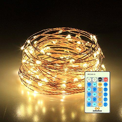infinitoo LED Lichterkette, 10 Meter 100 LED Kupferdraht Warmweiß mit Fernbedienung