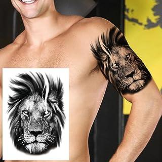 Geometrische Tijdelijke Tattoo Man Vrouw Kind Leeuw Vos Bloem Tattoo Zwarte Pioen Sticker Onderarm Tattoo-GTH212X