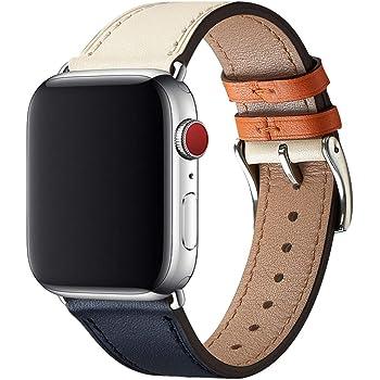 WFEAGL コンパチブル Apple Watch バンド,は本革レザーを使い、iWatch Series 6/5/4/3/2/1, SE、Sport、Edition向けのバンド交換ストラップです コンパチブル アップルウォッチ バンド (38mm 40mm, ダークブルーのアイボリー バンド+シルバー 四角い バックル)
