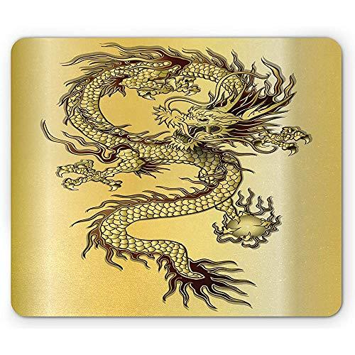 Drache-Mausunterlage,Chinesisches Schlangen-Drache-Thema-Hintergrund-Östliches Orientalisches Abstraktes Kunst-Grafisches Rechteck-Rutschfestes Gummimousepad