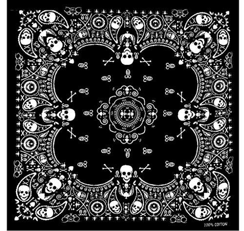 Pañuelo Calavera Negro y blanco, 55 x 55 cm