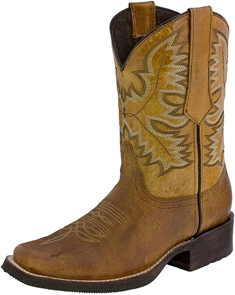 New sales Boots for Women Cowgirl Leather Cowboy Embroidery Mid Max 48% OFF Cal