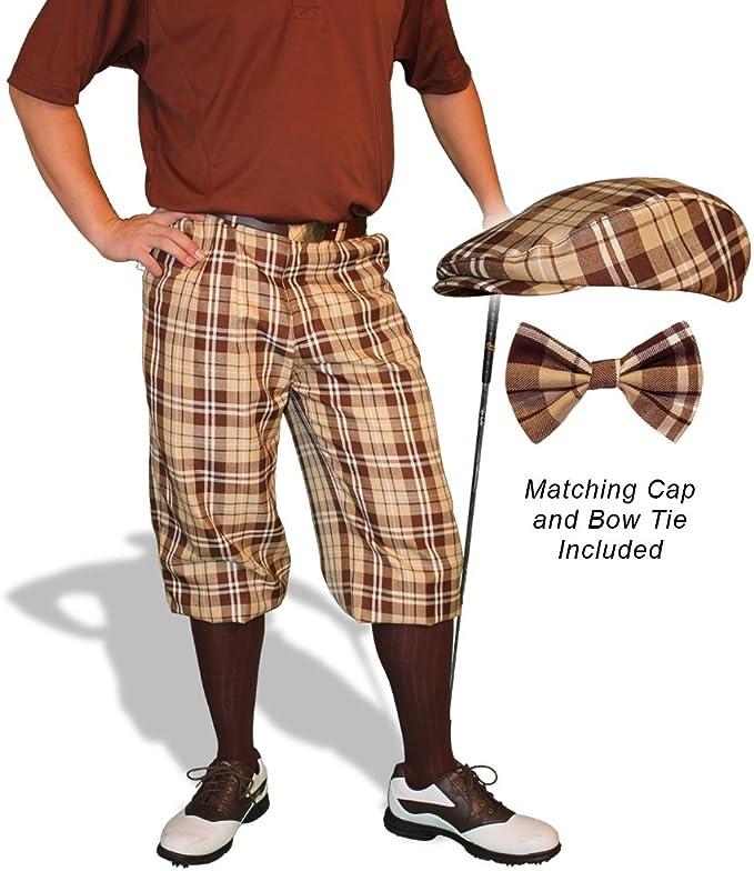 1930s Men's Pants, Trousers, and Shorts Styles Golf Knickers Plaid Cap and Bow Tie: Mens Par 5 - Naples  AT vintagedancer.com