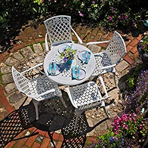 Lazy Susan White Aluminium Garden Furniture Set 4 Seater