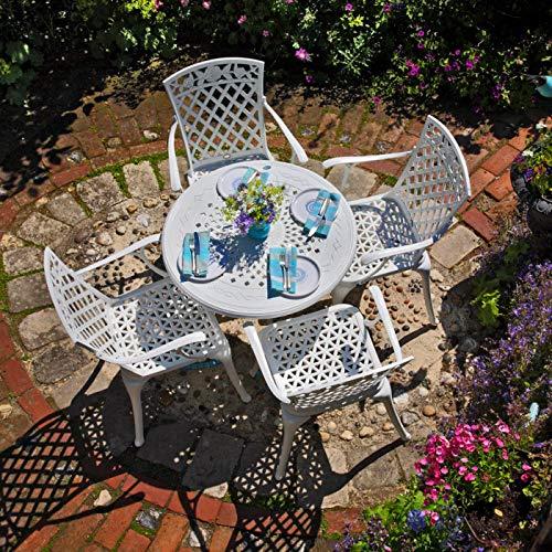 Lazy Susan - Anna 80 cm Runder Gartentisch mit 4 Stühlen - Gartenmöbel Set aus Metall, Weiß (Rose Stühle, Terracotta Kissen)