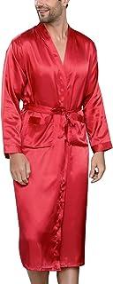Vêtements de nuit Mxssi Pijamas Mâle Nouveau Réel Hommes De Peignoir Robes Géométriques Col en V Imitation De Soie Tricoté Vêtements De Nuit Pleine Manche De Nuit Robes de chambre et Kimonos