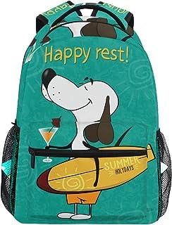 Lindo Perro con Mochila Escolar de Tablas de Surf para niños, niñas, niños, Bolsa de Viaje, Mochila