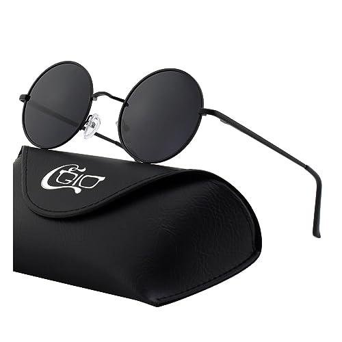 301b4257d3ad CGID E01 Retro Vintage John Lennon Inspired Round Metal Circle Polarized  Sunglasses With Leather Case