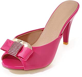 ae418122505 Summer-lavender Large Size Peep Toe Bowtie Woman Pumps Thin High Heels Slip  On Women