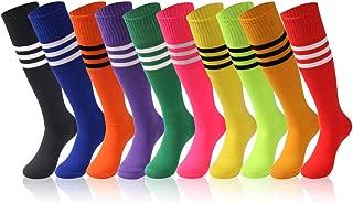 Unisex Tube Socks Stripe,2/6/10 Pairs Knee High Football Soccer Volleyball Baseball Cheerleading Team Socks