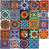 Adesivi per piastrelle marocchine da parete 72 pezzi adesivi impermeabili autoadesivi per la decorazione della camera da letto del bagno della cucina fai da te (72 Pezzi, 20×20cm)
