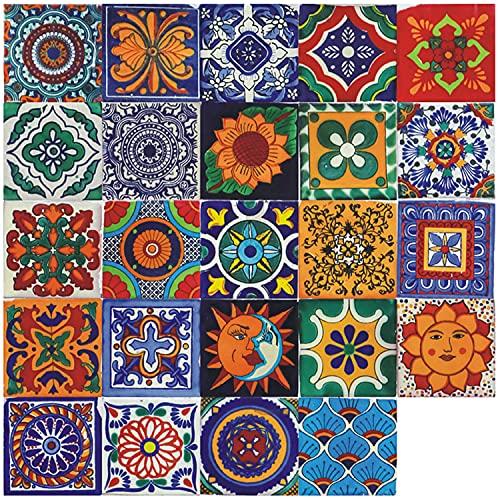 Adesivi per piastrelle marocchine da parete 24 pezzi adesivi impermeabili autoadesivi per la decorazione della camera da letto del bagno della cucina fai da te (24 Pezzi, 10×10cm)
