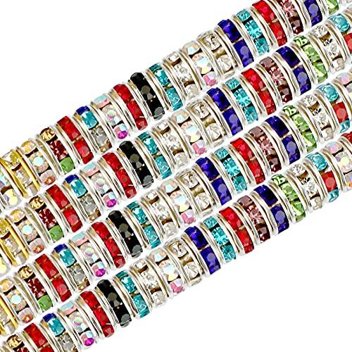 SAVITA 200 Pcs 8mm Multicolor Rondelle Beads, Glass Diamonds Loose Round...