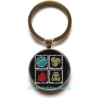 Fire nation Symbol Key Ring,Water symbol Keychain,Air nomad Key Ring, fashion Keychain,Charm Keychains