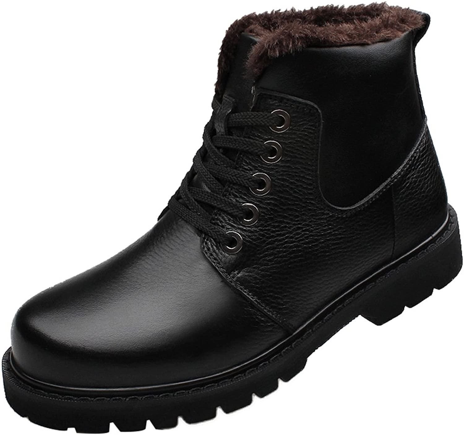 Salabobo QYY-LD-0268 Mens New Fashion Casual Leather High Top Lace up Plus Velvet Warm Wool Working Boots