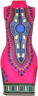 SheKiss Women's Traditional African Print Dashiki Bodycon Sleeveless High Collar Dress