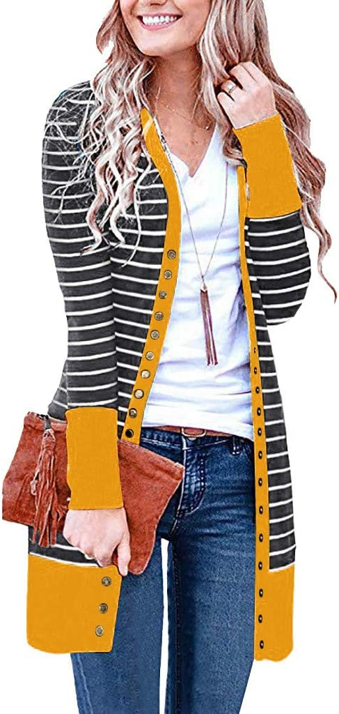 Coupondeal Women Long Sleeve Stripe PatchworkButton Down Solid Color Knit Ribbed Neckline Cardigans