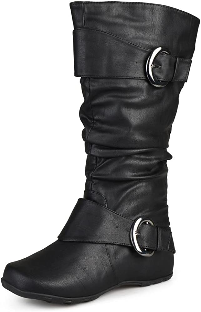 Journee Collection Womens Regular Sized and Wide-Calf Slouch Buckle Knee-HighBoots