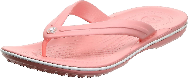Crocs Unisex Men's and Women's Crocband Flip Flops | Adult Sandals, Melon/White, 8 US