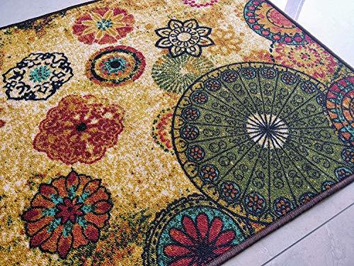 BuyElegant Chakra 2 Alfombra de área Piso Alfombra de poliéster súper Absorbente ecológico látex Antideslizante alfombras dormitorios salón Invernadero casa decoración Juego Mat 150x80 cm