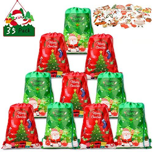 Qpout 10 Weihnachten Kordelzug Taschen Weihnachten Geschenk Rucksack Santa Weihnachtsbaum Geschenk Süßigkeitenbeutel 25 Weihnachten Thema Aufkleber für Party Geschenk Verpackung Deko
