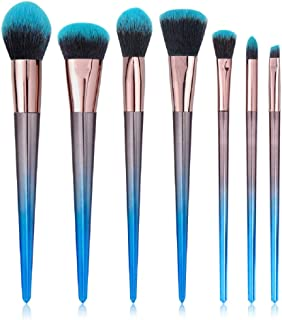 STELLAIRE CHERN Makeup Brush Set 7 Pcs Professional Synthetic Cosmetic Brushes, Foundation Blending Blush Powder Eye Shadow Make Up Brushes Kit - Blue Black
