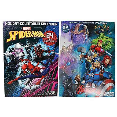 Needzo Marvel Avengers X Spiderman Advent Calendar 2020, 24 Day Holiday Countdown with Milk Chocolate Pieces, Pack of 2