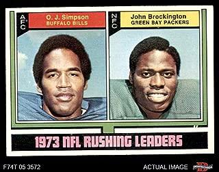 1974 Topps # 328 Rushing Leaders O.J. Simpson/John Brockington Bills/Packers (Football Card) Dean's Cards 4 - VG/EX Bills/Packers